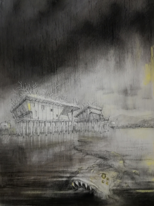 El monstruo del lago. |Dibujo de Rosario Rodriguez | Compra arte en Flecha.es