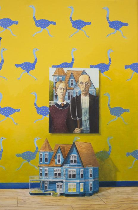 La Habitación Amarilla de Gótico Estadounidense   Pintura de Rosa Alamo   Compra arte en Flecha.es