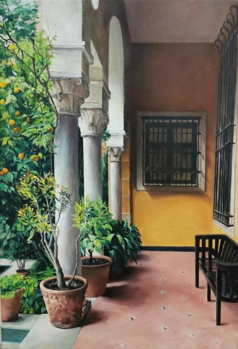Jardin museo Sorolla, entrada |Pintura de Carmen Nieto | Compra arte en Flecha.es