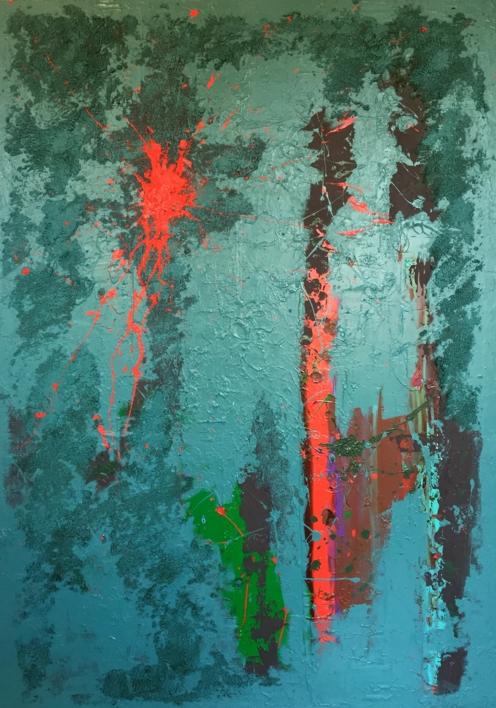 AZUL Y CÉLULAS |Pintura de ALFREDO MOLERO DOVAL | Compra arte en Flecha.es