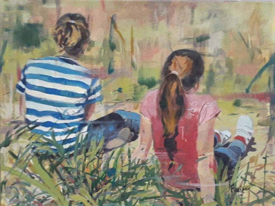 Niñas en Verano |Pintura de Amaya Fernández Fariza | Compra arte en Flecha.es
