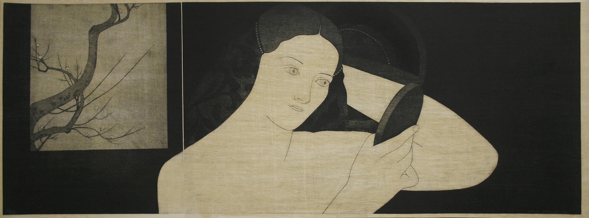 Mujer con espejo  Dibujo de Enrique González   Compra arte en Flecha.es