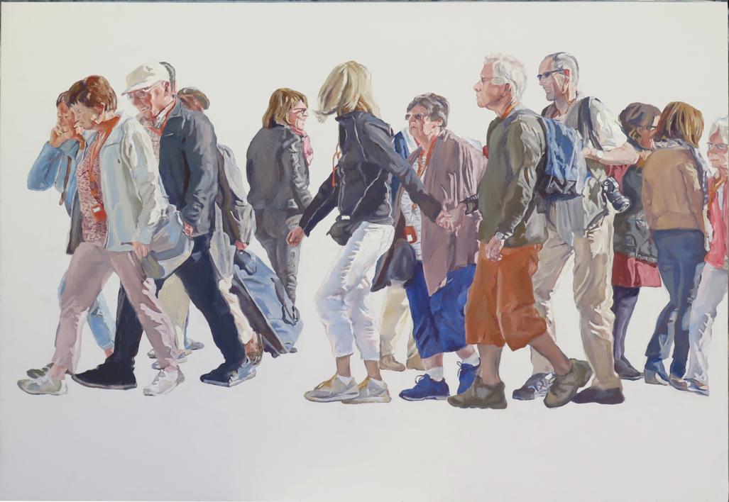 Cuerda de turistas |Pintura de JESÚS MANUEL MORENO | Compra arte en Flecha.es