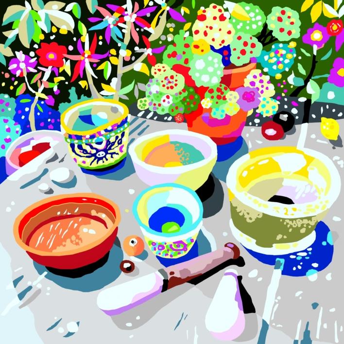 La mesa de cultivo de semillas de luz |Obra gráfica de ALEJOS | Compra arte en Flecha.es