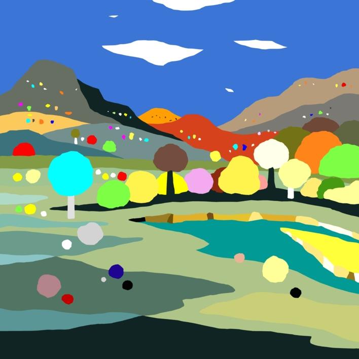 Paisaje con río |Dibujo de ALEJOS | Compra arte en Flecha.es