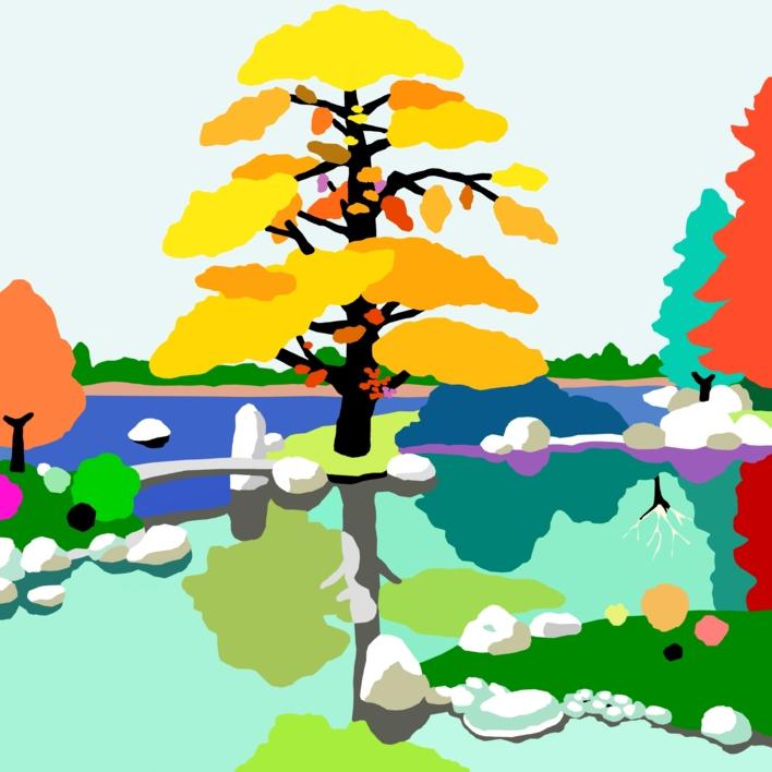 El pequeño puente |Dibujo de ALEJOS | Compra arte en Flecha.es