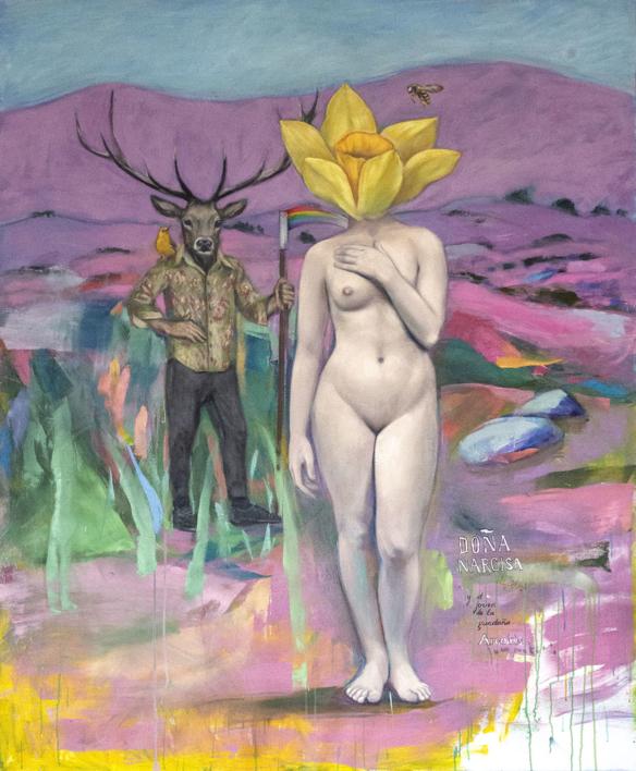 Doña Narcisa y el joven de la guadaña Arcoiris |Pintura de Juan Mateo Cabrera | Compra arte en Flecha.es