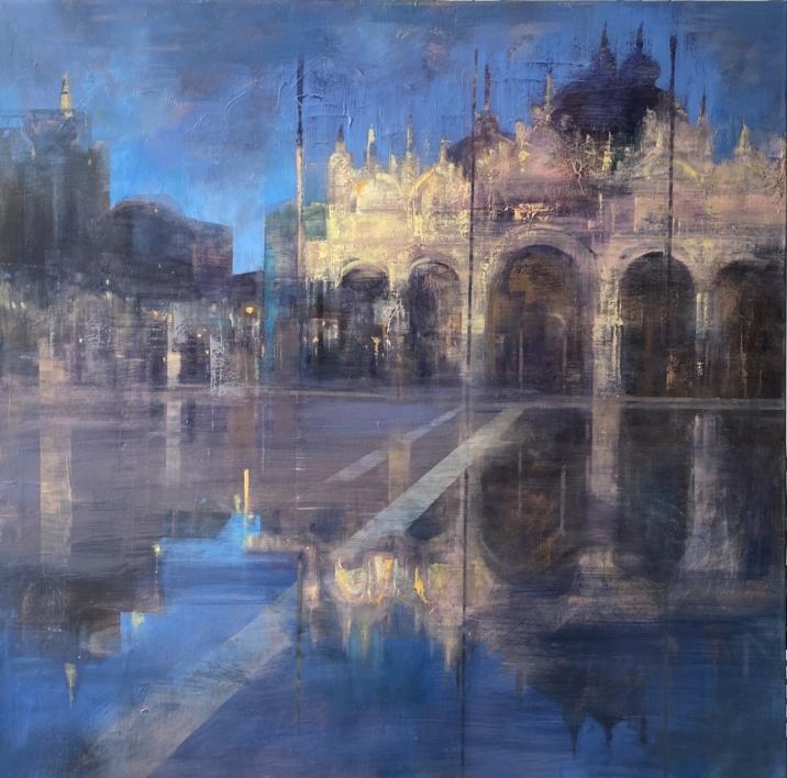 Venecia en azules |Pintura de ISABEL  AVILA | Compra arte en Flecha.es