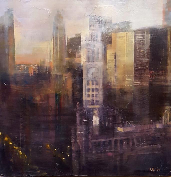 Chicago nocturno |Pintura de ISABEL  AVILA | Compra arte en Flecha.es