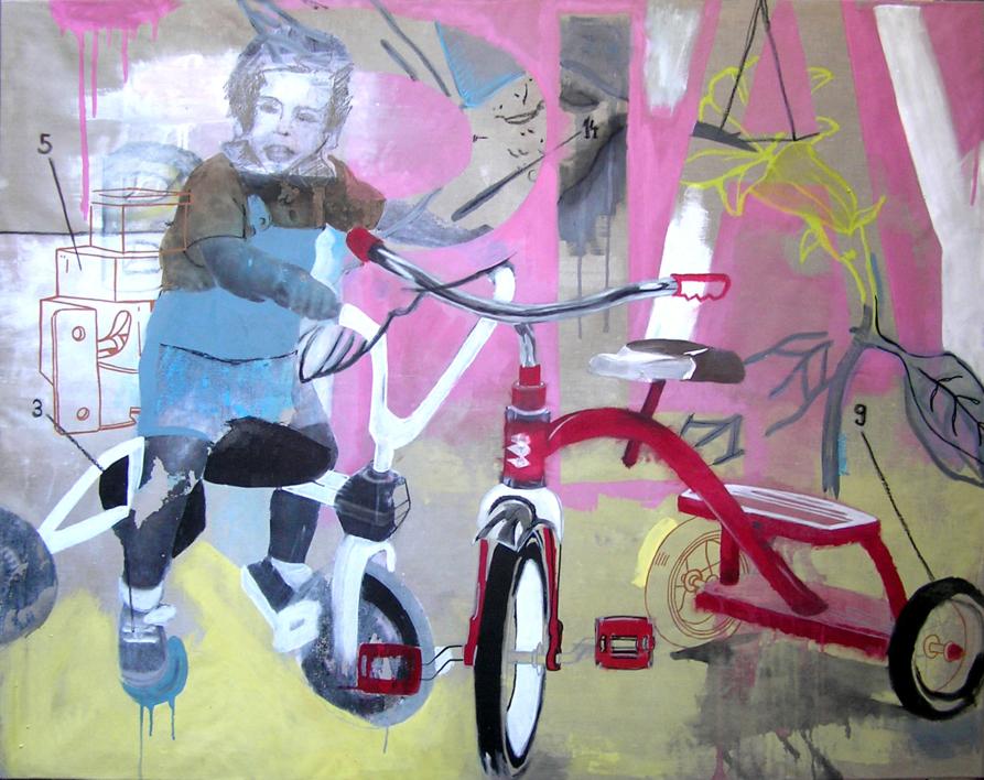 El triciclo |Pintura de Alejandra de la Torre | Compra arte en Flecha.es