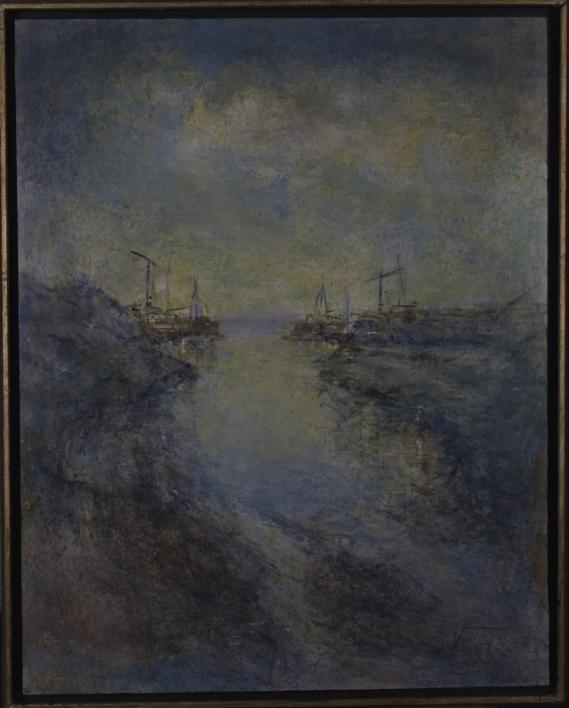 Laguna y puerto |Pintura de Javieruiz | Compra arte en Flecha.es