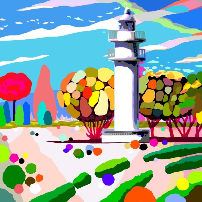 El Faro de Ajo blanco del Parque del Buen Retiro |Obra gráfica de ALEJOS | Compra arte en Flecha.es