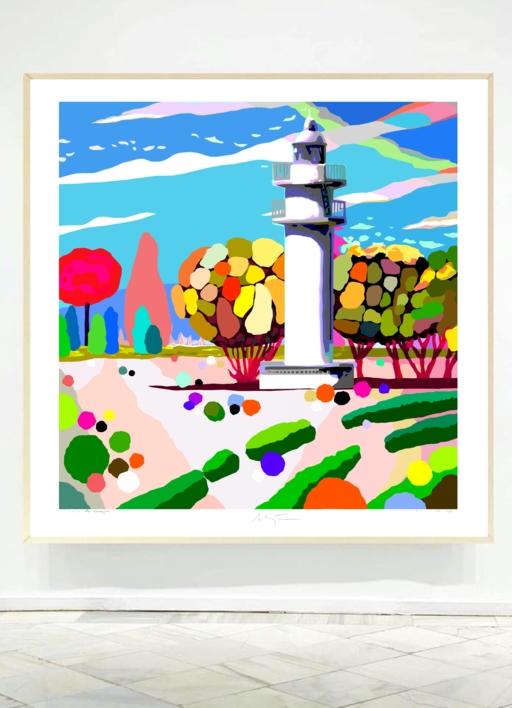 El Faro de Ajo blanco del Parque del Buen Retiro | Obra gráfica de ALEJOS | Compra arte en Flecha.es