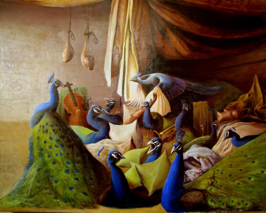 Interior con pavos reales |Pintura de Eduardo Varela | Compra arte en Flecha.es
