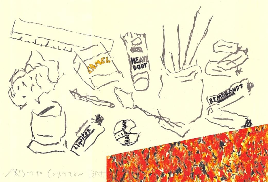 Mesa de artista con paquete CAMEL |Dibujo de Alberto Corazón | Compra arte en Flecha.es
