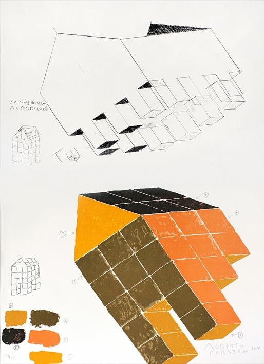 Díptico: Templo en Construcción |Dibujo de Alberto Corazón | Compra arte en Flecha.es