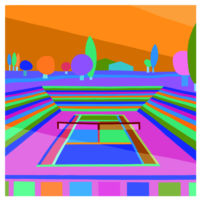 Hockney on center court night |Dibujo de ARTMVG | Compra arte en Flecha.es