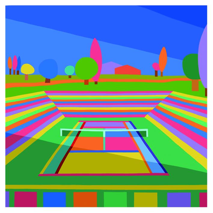 Hockney on center court day |Dibujo de ARTMVG | Compra arte en Flecha.es