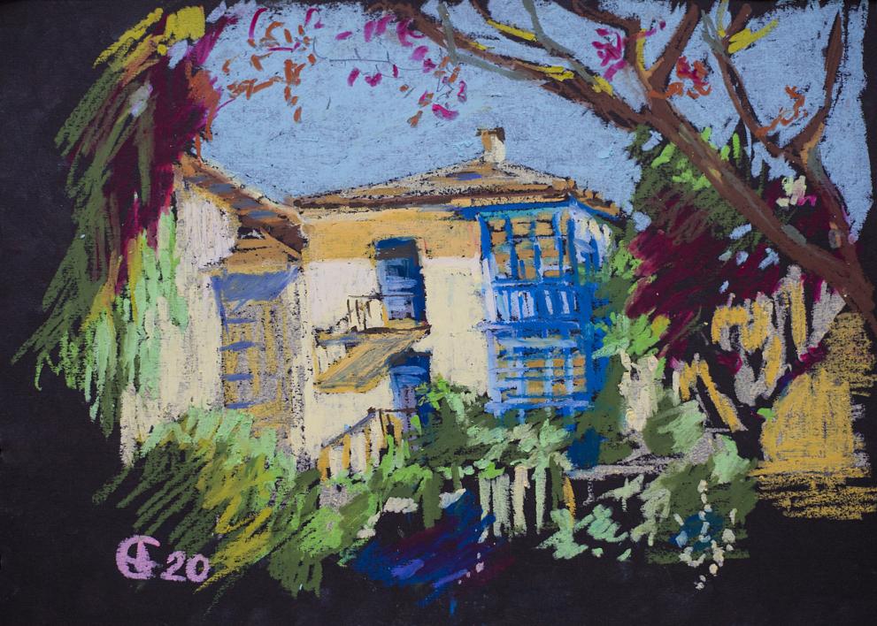 Toro. La casita vieja. OIL PASTEL PAINTING. MADRID ORIGINAL YELLOW BLUE OLD TOWN INTERIOR DECOR DETAIL GIFT MODEN IMPRESSIONISM |Pintura de Sasha Romm Art | Compra arte en Flecha.es