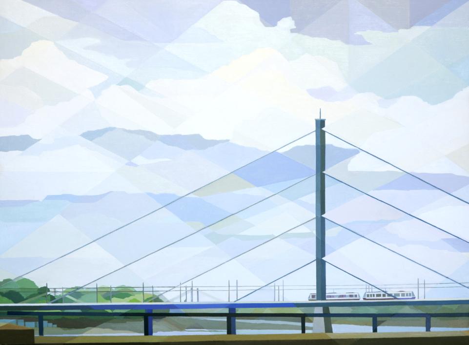 Puente de Düsseldorf |Pintura de Luis Monroy Esteban | Compra arte en Flecha.es