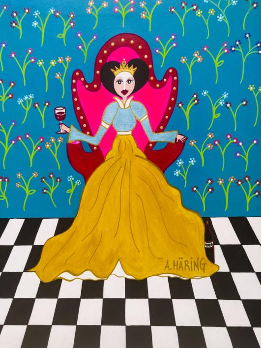 Reina Matilda de Copas |Pintura de Ángela Fernández Häring | Compra arte en Flecha.es