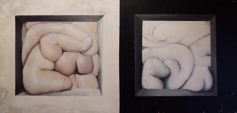 Sólidos y Blandos. Blanco y Negro |Pintura de Víctor Bayonas | Compra arte en Flecha.es