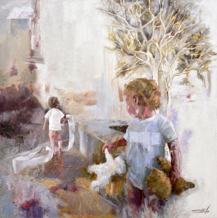 El apuro |Pintura de Celestino Mesa | Compra arte en Flecha.es