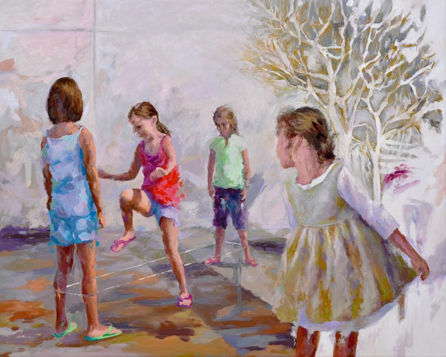 Jugando a la goma |Pintura de Celestino Mesa | Compra arte en Flecha.es