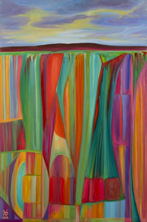 Geometric Twilight |Pintura de Helena Revuelta | Compra arte en Flecha.es