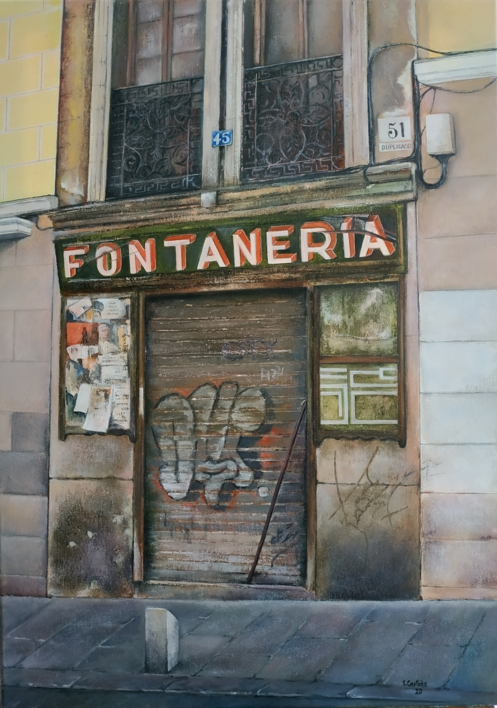 La vieja fontanería - Madrid  Pintura de TOMAS CASTAÑO   Compra arte en Flecha.es