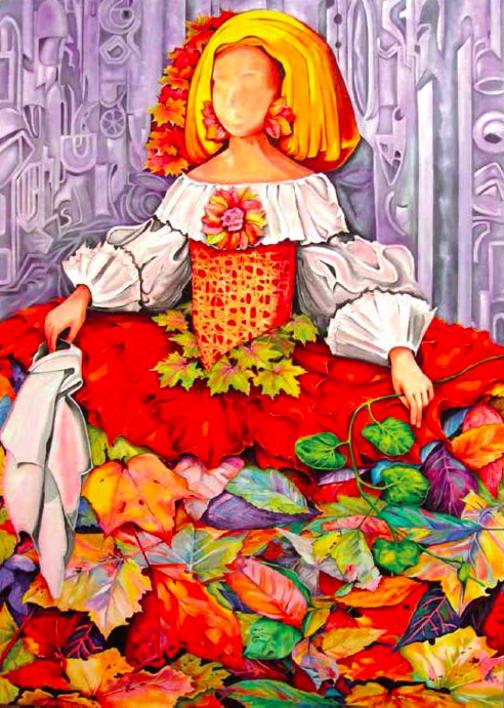 Menina Otoño  Pintura de Maite Rodriguez   Compra arte en Flecha.es