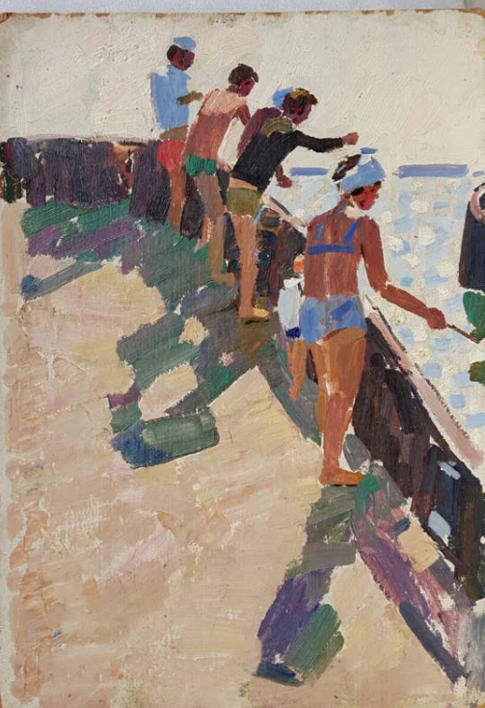 Fishing on the pier |Pintura de Shponko Gregori Andreevich | Compra arte en Flecha.es
