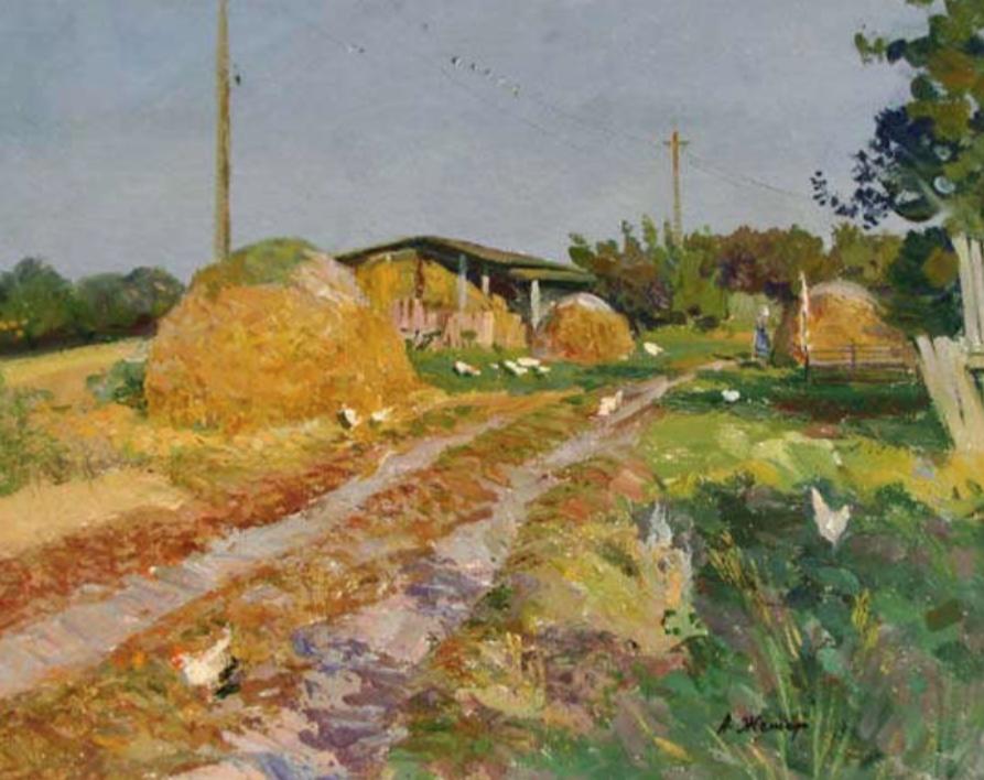 Near the House |Pintura de Geger Anatoly Mikhailovich | Compra arte en Flecha.es