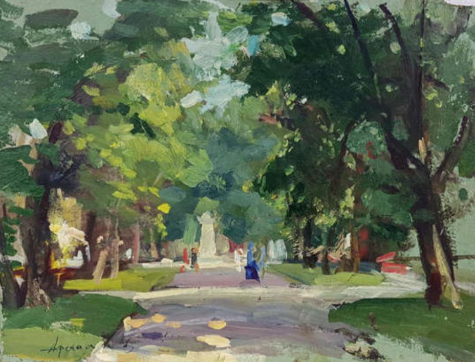 In the park |Pintura de Afanasiev Vladimir Illich | Compra arte en Flecha.es