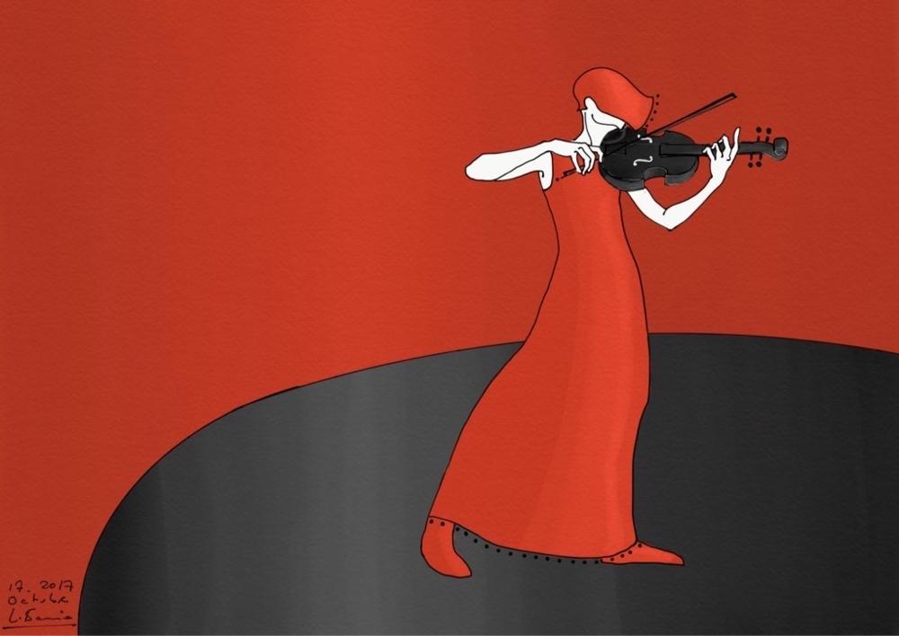 Mujer música con violín  Digital de Lola Barcia Albacar   Compra arte en Flecha.es