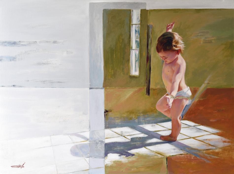 Jugando con su sombra | Pintura de Celestino Mesa | Compra arte en Flecha.es