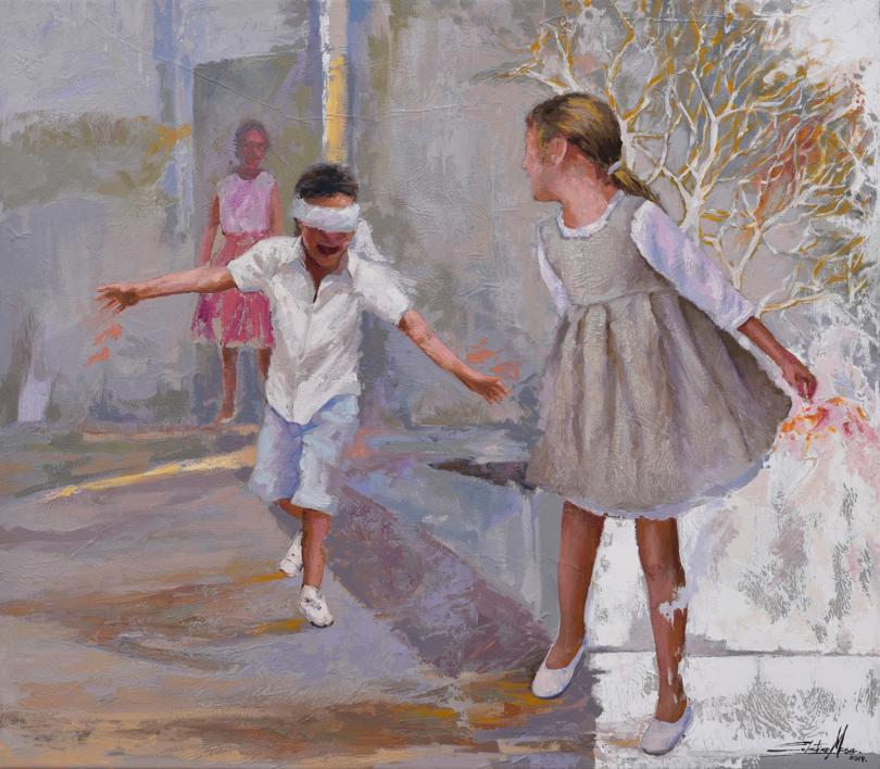 Jugando a la gallina ciega |Collage de Celestino Mesa | Compra arte en Flecha.es