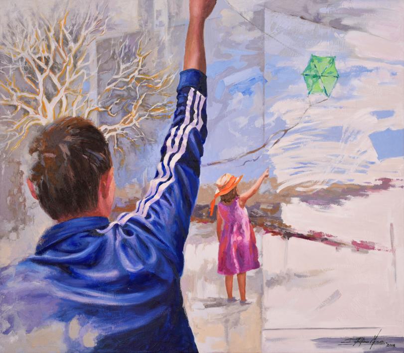 Los hermanos de la cometa  Ilustración de Celestino Mesa   Compra arte en Flecha.es