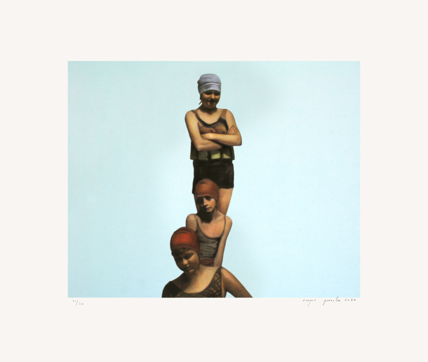 Tres bañistas  Obra gráfica de Enrique González   Compra arte en Flecha.es