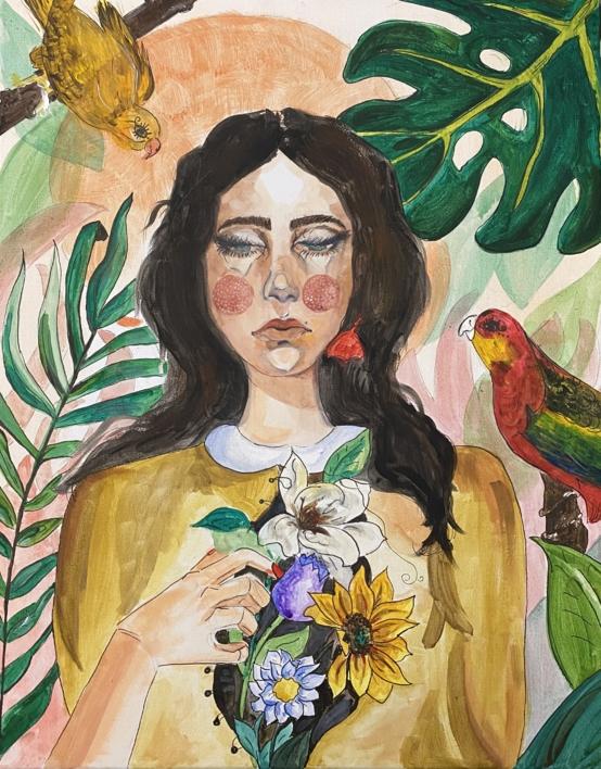 Paloma Negra  Pintura de Federica   Compra arte en Flecha.es