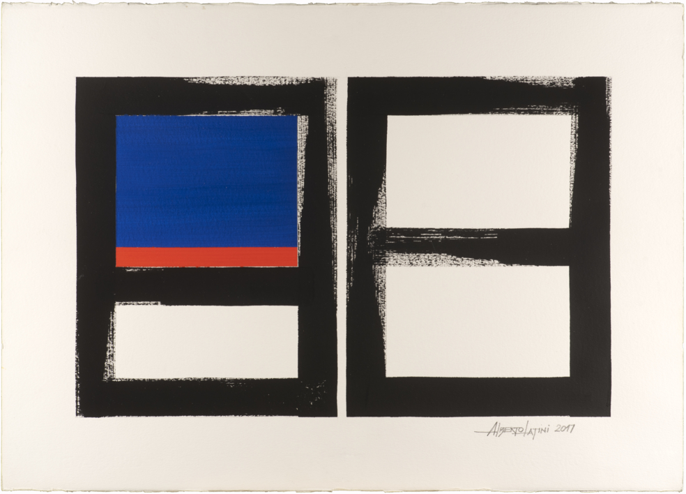 GEOMETRIC BLUE AND ORANGE |Pintura de alberto latini | Compra arte en Flecha.es