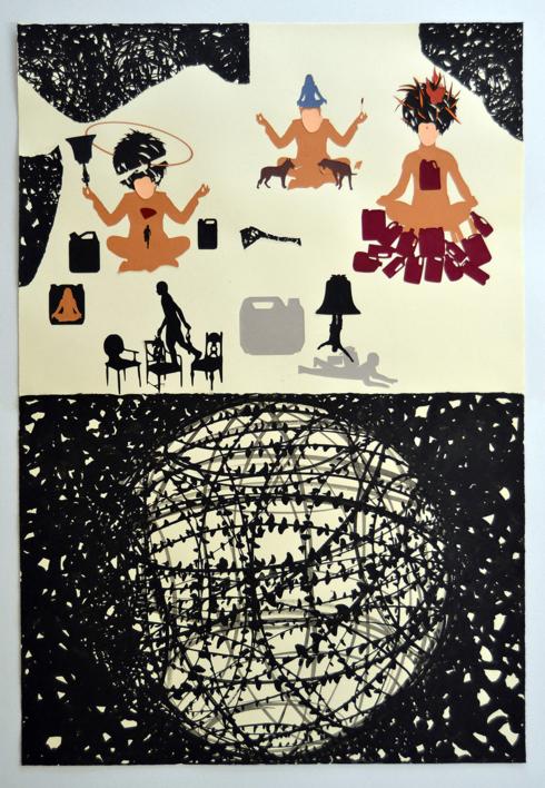 Monje  bonzo I  Collage de Javier Pulido   Compra arte en Flecha.es