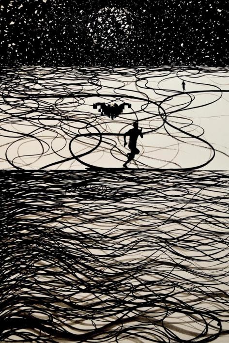 Corredor nocturno  Collage de Javier Pulido   Compra arte en Flecha.es