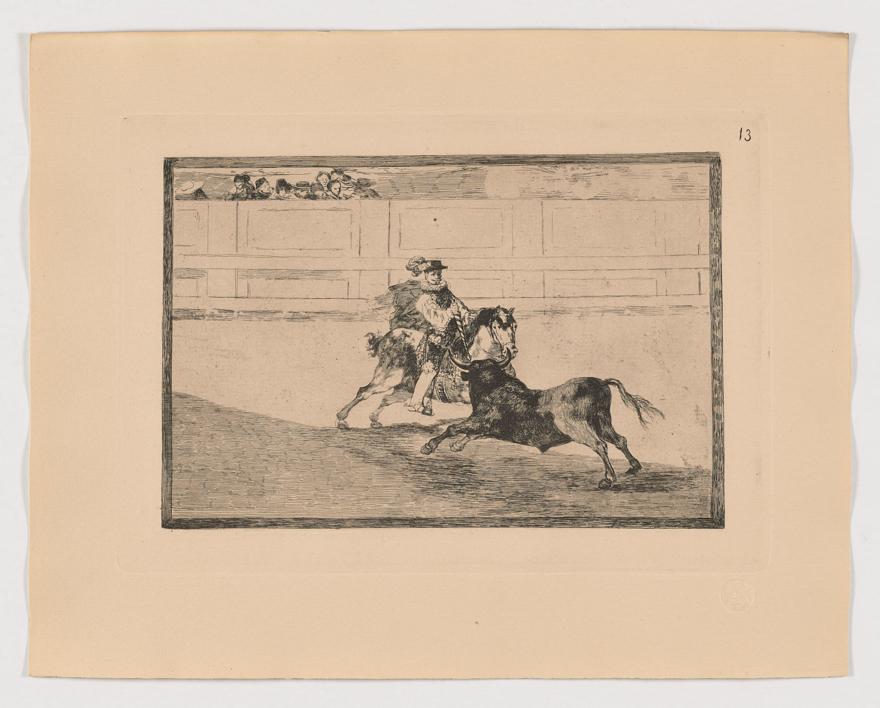 La Tauromaquia. Un caballero español en plaza quebrando rejoncillos sin auxilio de los chulos (Estampa 13) |Obra gráfica de Francisco de Goya y Lucientes | Compra arte en Flecha.es