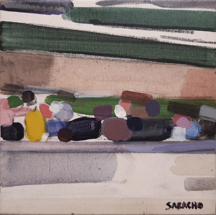 People on a bridge |Pintura de Saracho | Compra arte en Flecha.es