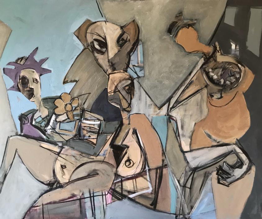 Fiesta de disfraces |Pintura de Oscar Leonor | Compra arte en Flecha.es