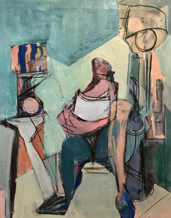 Hombre aferrado a una almohada |Pintura de Oscar Leonor | Compra arte en Flecha.es