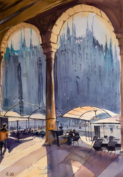MILANO DUOMO. URBAN LANDSCAPE WITH LIGHT, SHADOW AND EMPTY TERRACE. BIG FORMAT WATERCOLOR URBAN LANDSCAPE MEDITERRANEAN ITALY SEA BRIGHT ARCHITECTURE OLD TRAVEL MILAN CATHEDRAL COFFEE MODERN IMPRESSIONISM |Dibujo de Sasha Romm Art | Compra arte en Flecha.es