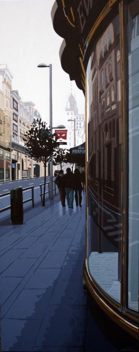 """""""REFLEJOS EN GRAN VÍA III"""".  Pintura de ROSANA SITCHA   Compra arte en Flecha.es"""