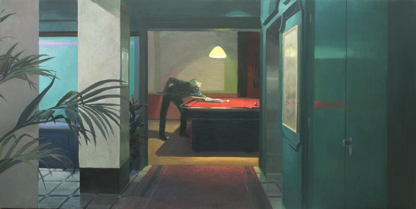 La sala de billar |Pintura de Orrite | Compra arte en Flecha.es